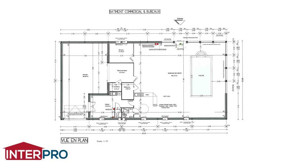 construction b timent commercial pour pisciniste plans et photos. Black Bedroom Furniture Sets. Home Design Ideas
